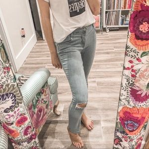 FREE PEOPLE MARA RIPPED LIGHT BLUE SKINNY JEANS